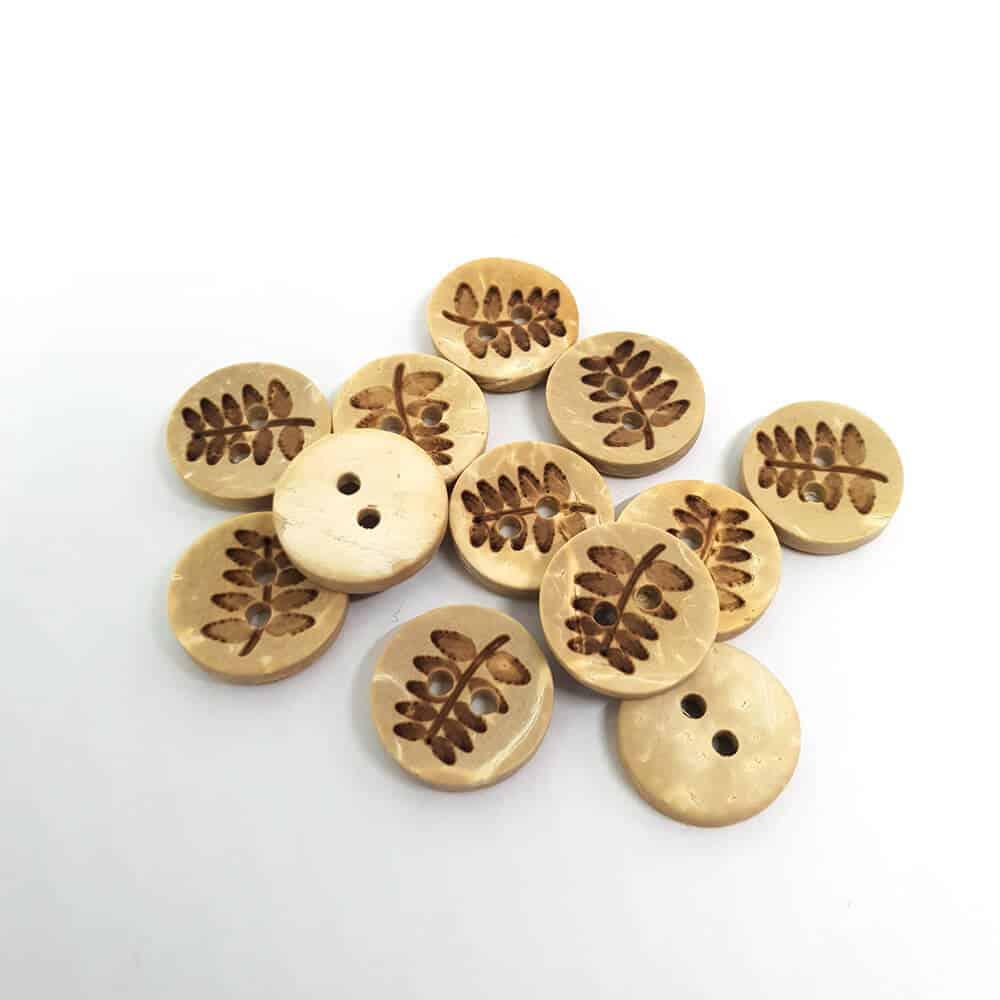 13mm Round Leaf Coconut button