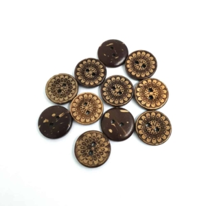 15mm Round Flower Coconut button