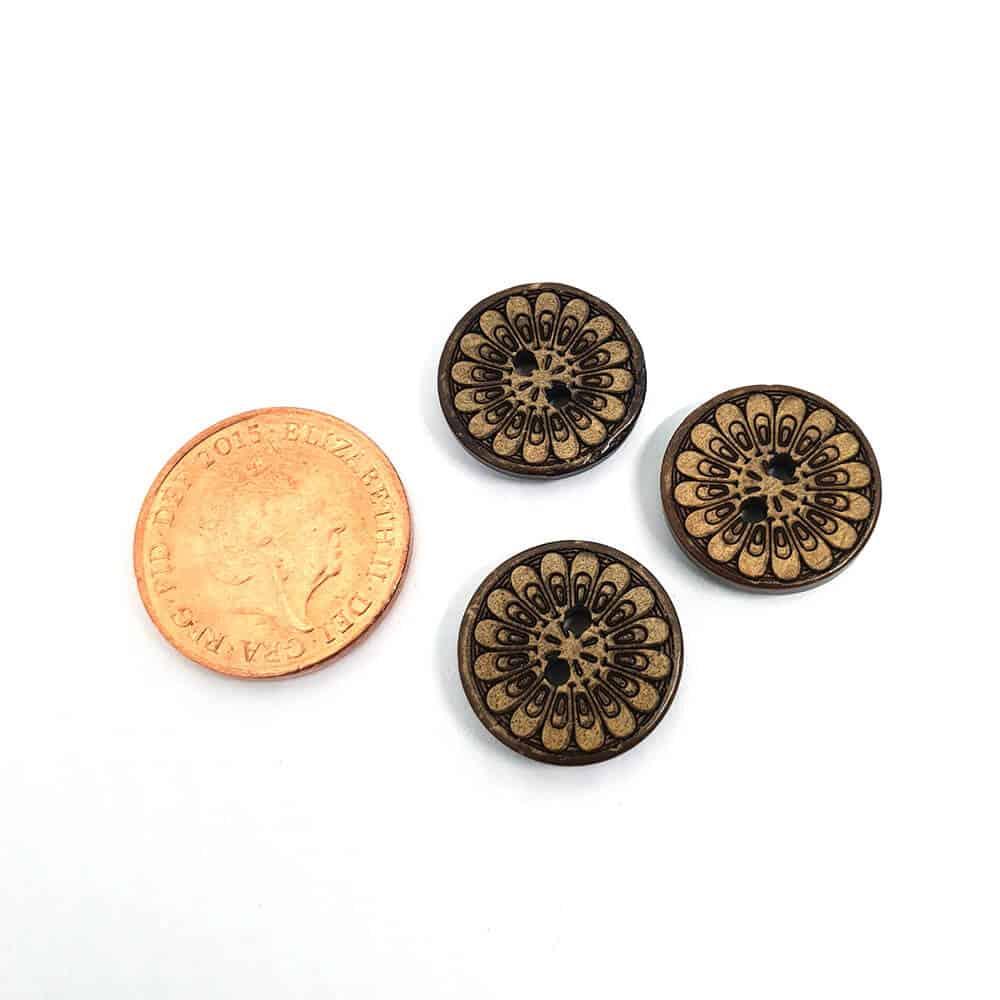 15mm Round Flower Coconut button