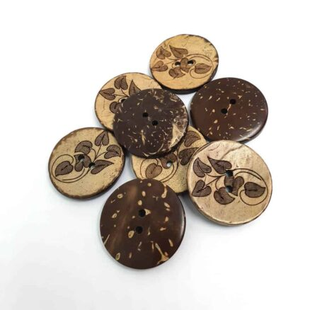 27mm Round Leaf Coconut button