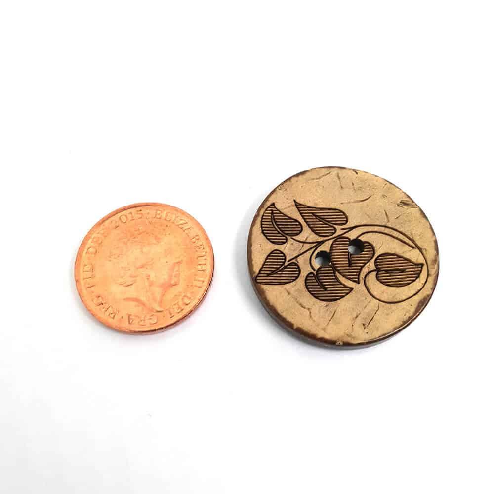 27mm Round Leaf Coconut button